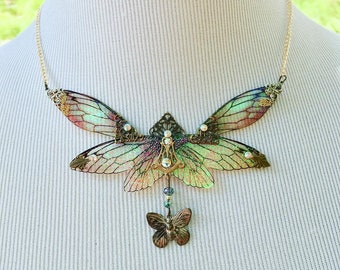 Fairy Wings, Fairy Jewely, Statement Necklace, Bridal Necklace, Wedding Necklace, Butterfly Wedding, Fairy Wedding, Rose Gold Necklace