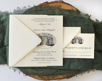Bethesda Gate Wedding Invitation - Savannah Wedding - Savannah Bride - Simply Southern - Wedding Invitation Suite - Georgia Wedding - Sample