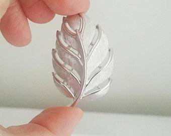Vintage Trifari Silver Stem Leaf Brooch