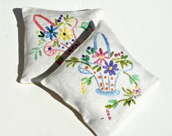 Vintage embroidered linen lavender sachet - blue and pink set