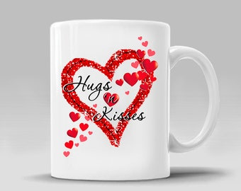 Valentines Day Mug Hugs Kisses Love Hearts Gift Valentines Day Gift Romantic Boyfriend Girlfriend Gift Coffee Mug_11 - 15 oz Cup_395M