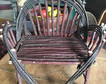 Primitive Folk Art Bent Willow Adirondack Twig Doll Chair Handmade