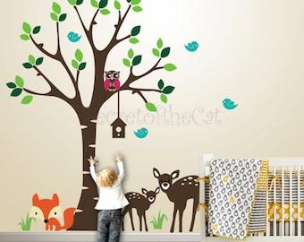 Nursery Wall Decal - Wall decals nursery - kids Wall Decal - Forest Friends - Forest decal - fox decal - Tree decal - nursery