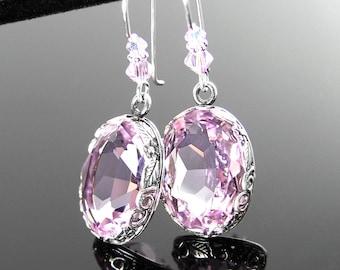Light Amethyst Crystal Earrings, Vintage Style Antique Silver Earrings, Swarovski Crystal Pink Purple Drop Earrings, Victorian Jewelry