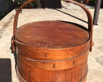 Antique Wood Firkin, Bucket with Pegged Swing Handle and Lid, Wonderful Rich Patina