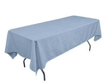 Solid Table Cloth Durable Thick Polyester Machine Washable, Dining Room  Holiday Decor Light Blue