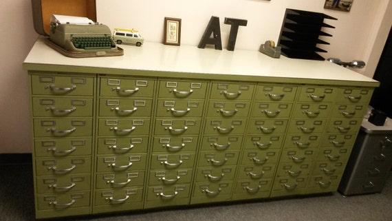 Like this item? - Vintage Industrial Steelcase Index Card Filing Cabinet Set 49