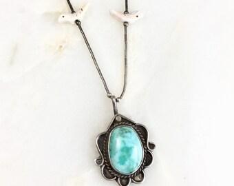 Vintage Sterling Navajo Turquoise Pendant