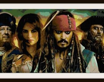 Pirates of the Caribbean Cross Stitch Pattern - Johnny Depp, Captain Jack Sparrow - PDF Downloas