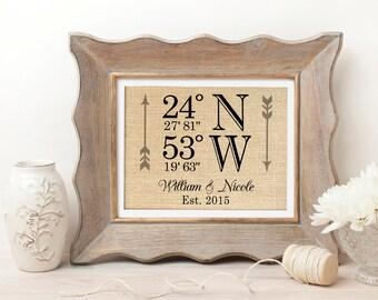 Latitude Longitude Wedding Gift | Wedding Coordinates Sign | Housewarming | Wedding Gift | Personalized Wedding Gifts | Bridal Shower Gift