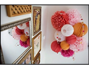 Any Colors) Pre assembled 6 lantern and 4 Pom Poms hanging  mobile
