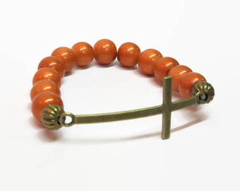 Orange Sideways Cross Bracelet, Orange Cross Bracelet, Gold Cross Stretch Bracelet, Religious Bracelet