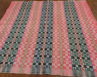 Vintage Swedish Handwoven Wool Textile Fabric Tablecloth for Reworking Remaking