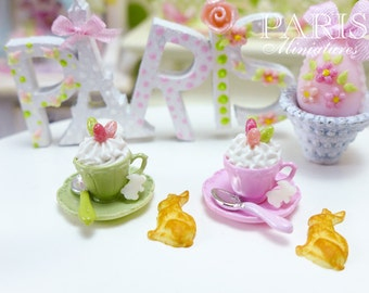 MTO-Cup of Easter Cappuccino with Bunny Cookie (Choice of Pretty Pink or Spring Green) - Miniature Food in 12th Scale for Dollhouse