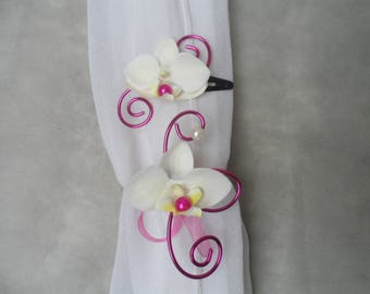 Child set - PIN and flower bracelet - fuchsia and ivory