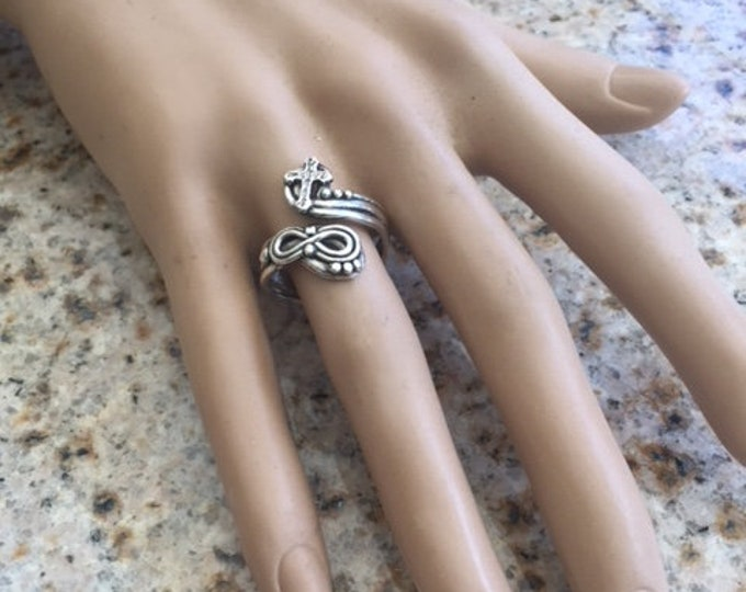 Item 1008- Handcrafted, sculpted carved 999 Fine and 925 Sterling Silver Ring Infinity Cross Adjustable