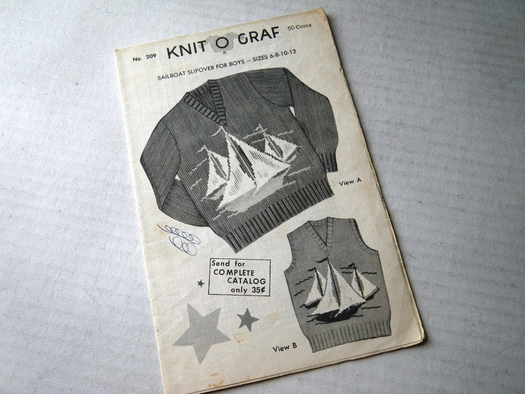 Sailboat Knit O Graf Child Pullover Sweater or Vest Knitting Pattern ...