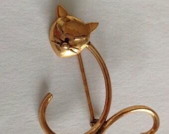 Vintage gold cat pin - cat brooch - 10ct gold - animal brooch pin