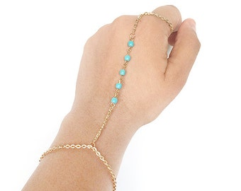 hand chain bracelet - turquoise slave bracelet - hand ring bracelet - bohemian hand chain ring - gifts for her - women's gift - girls gift