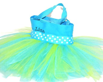 Tutu Bag, Dance Bag, White Polka Dots Ribbo . Personalized Girl Dance Bag, Dance Tutu Bag, Kids Bag, Party Favors Whimsical
