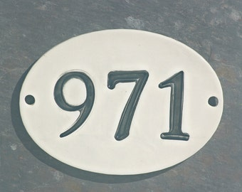 Ceramic Address Sign - House Numbers - New Home Address - Home Address Sign - Number Plaque - House Pottery Numbers - Address Plaque