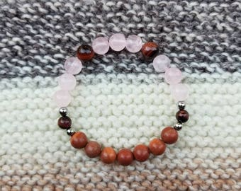 Red tigers Eye, Rose Quartz, Hematite and Red Malachite