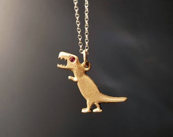 Tyrannosaurus Rex silver and ruby pendant necklace