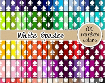 SALE 100 spades digital paper alice in wonderland digital paper rainbow spade clipart pattern scrapbooking 12x12 pastel neutral bright dark