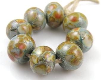 Pluto SRA Lampwork Handmade Artisan Glass Donut/Round Beads Made to Order Set of 8 8x12mm