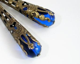 Cobalt Blue Drop Earrings Wrapped in Bronze