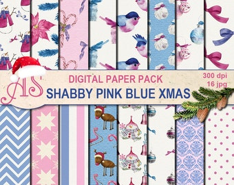Digital Shabby Chic pink blue Christmas Pack, 16 printable Digital Scrapbooking papers, vintage new year, decoupage, Instant Download,set251