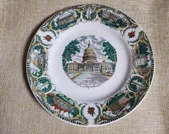Souvenir Plate Washington DC Capitol Building Capsco Small 7 Inches Vintage