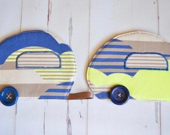 Camper gift, Caravan coaster pair, trailer decor, retro mug rugs, blue drink mat, neon lime coaster, retirement gift, happy camper