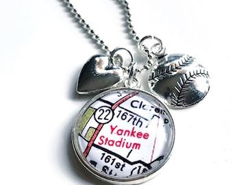 New York Yankees Necklace - Baseball Charm Necklace - Yankee Stadium - Yankees Jewelry - Baseball Necklace - Yankees Charm Necklace