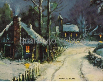1930's Calendar Art Lithograph, Road To Home, Country Cottage, Winter Night