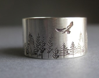 Sterling silver - tree - bird - hawk - nature inspired - nature lovers - hiking - hikers - woodland - tree lover - bird lover - ring