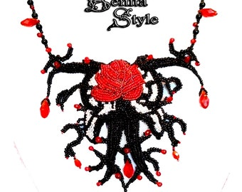 Bead Embroidery Necklace, Beadwork Necklace, Statement jewelery, Beaded Necklace Black & Red Necklace - Gothic roze, Red Swarovski crystals