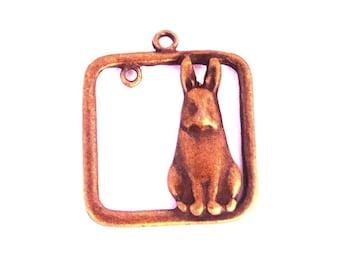 big rabbit alice in bronze brass square 25mm connector charm
