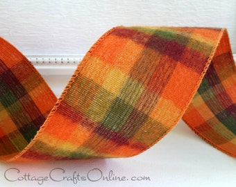 "Flannel Wired Ribbon, 2 1/2"", Orange, Moss Green, Yellow, Cranberry Fall Plaid - TEN YARD ROLL - ""Forest Glen"", Autumn, Thanksgiving Ribbon"