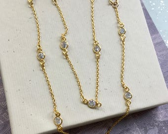 Diamond by the yard chain, cubic zirconia cz strand necklace, 24kt gold vermeil station necklace