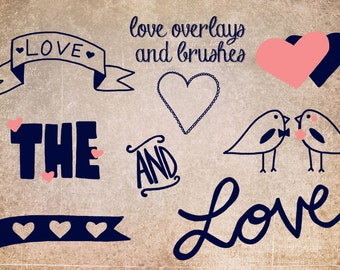 Love Overlays and Photoshop Brushes - Doodle brushes for photoshop - Instant Download - personal or commercial use - hearts - love - birds