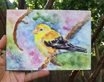 Goldfinch Bird Painting, Small ORIGINAL Art, 5x7 Watercolor Painting, Gift for Mom, Birthday Gift, Yellow Finch, Bird Art
