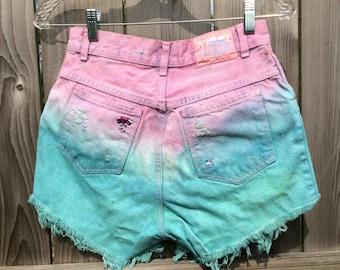 Upcycled cut off denim Whooz Blooz BOOTY Shorts Pink Aqua High Waist Tie Dye