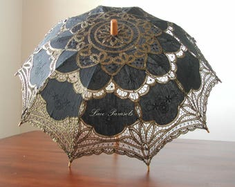 Black and Gold Battenburg Lace Parasol