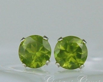 Vesuvianite Stud Earrings Sterling Silver 5mm Round 1.05ctw Rare Natural Untreated