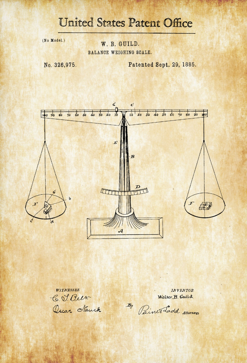 Scales of Justice Patent Print Legal Decor Law Firm