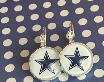 Dallas Cowboy football star glass cabochon earrings - 16mm