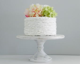 """16"""" Wedding Cake Stand Pedestal Cake Stand White Cake Stand Rustic Wooden Cake Stand E.Isabella Designs Featured In Martha Stewart Weddings"""