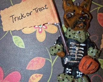 Whimsical Vintage Style German Shepherd Dog Halloween Skeleton Ornament Ooak