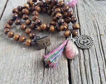 Statement necklace, charm jewelry, yogi, yoga, ohm, dog tag, layering necklace, tassel charm, sterling silver charm pendant, wrap bracelet